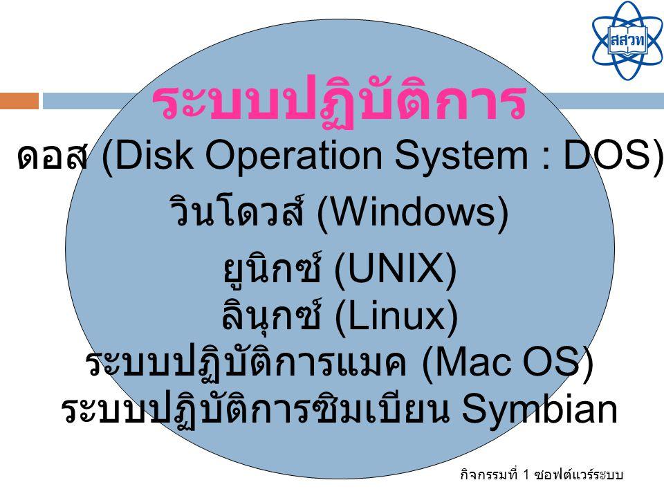 กิจกรรมที่ 1 ซอฟต์แวร์ระบบ ระบบปฏิบัติการ ดอส (Disk Operation System : DOS) วินโดวส์ (Windows) ยูนิกซ์ (UNIX) ลินุกซ์ (Linux) ระบบปฏิบัติการแมค (Mac O