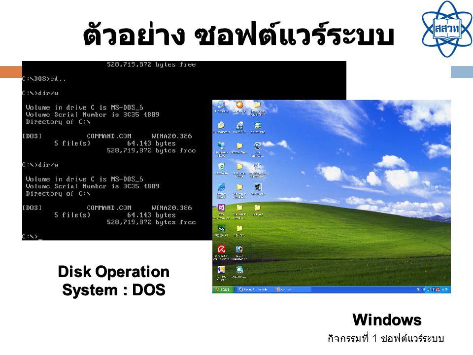 กิจกรรมที่ 1 ซอฟต์แวร์ระบบ ซอฟต์แวร์ ประมวลคำ ตัวอย่าง ซอฟต์แวร์ประยุกต์ Open Office.org2 Writer Microsoft Word