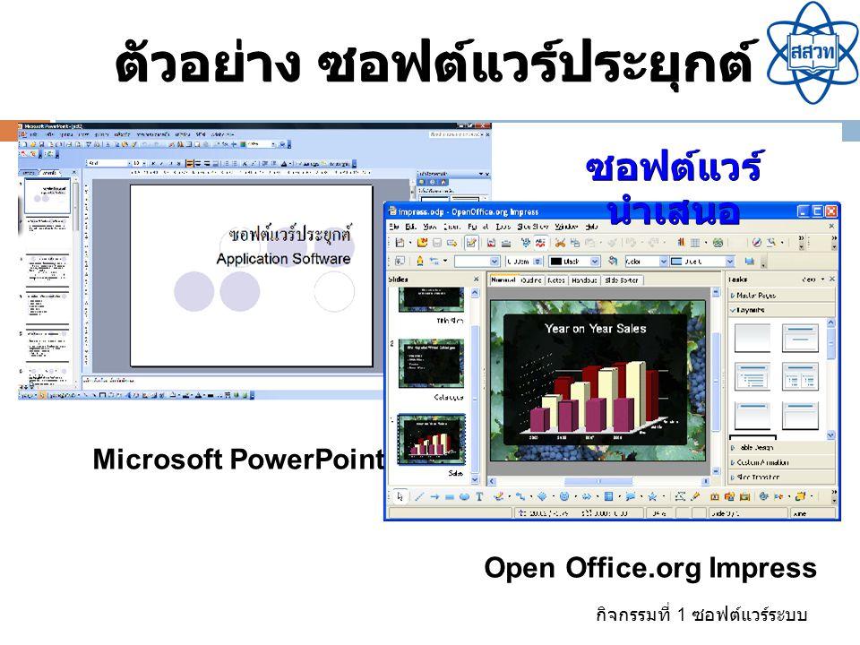 กิจกรรมที่ 1 ซอฟต์แวร์ระบบ ซอฟต์แวร์ นำเสนอ ตัวอย่าง ซอฟต์แวร์ประยุกต์ Open Office.org Impress Microsoft PowerPoint
