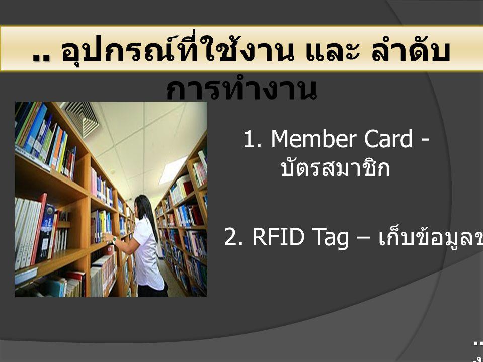 .... อุปกรณ์ที่ใช้งาน และ ลำดับ การทำงาน 1. Member Card - บัตรสมาชิก 2. RFID Tag – เก็บข้อมูลของหนังสือ.. เทคโนโลยีการใช้ RFID กับ งานในห้องสมุด