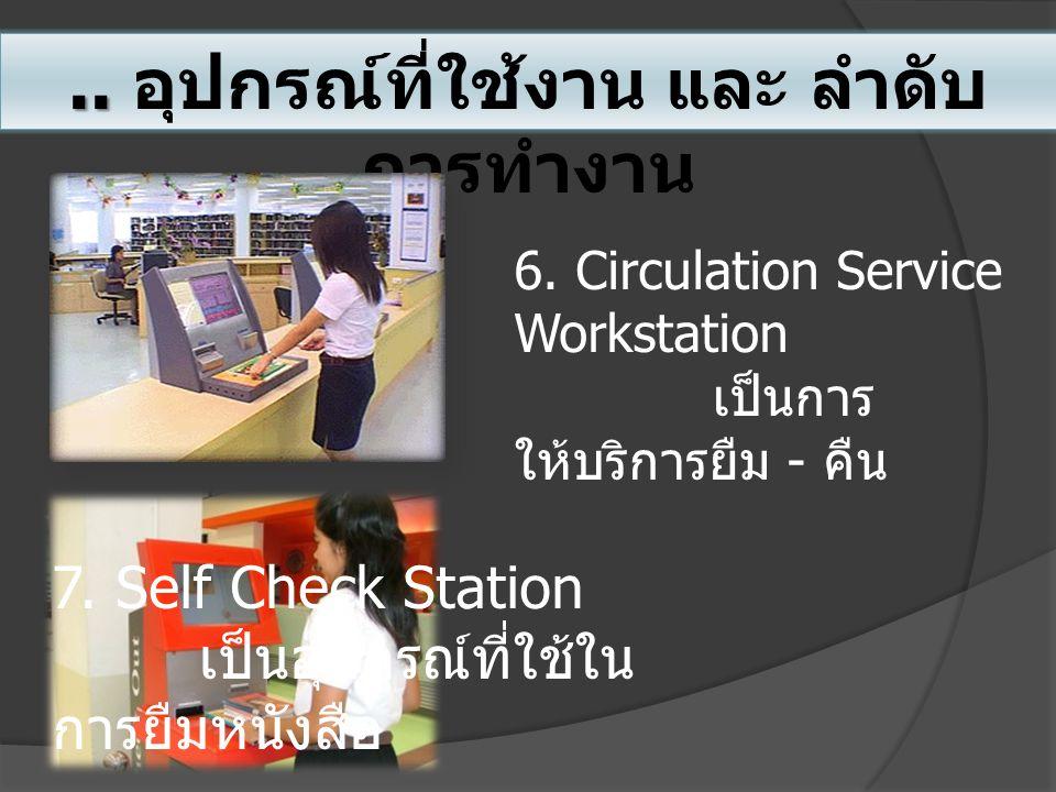 .. อุปกรณ์ที่ใช้งาน และ ลำดับ การทำงาน 6. Circulation Service Workstation เป็นการ ให้บริการยืม - คืน 7. Self Check Station เป็นอุปกรณ์ที่ใช้ใน การยืมห