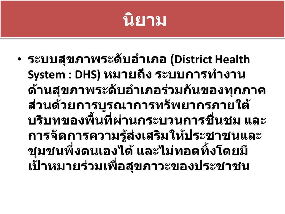 นิยาม ระบบสุขภาพระดับอำเภอ (District Health System : DHS) หมายถึง ระบบการทำงาน ด้านสุขภาพระดับอำเภอร่วมกันของทุกภาค ส่วนด้วยการบูรณาการทรัพยากรภายใต้