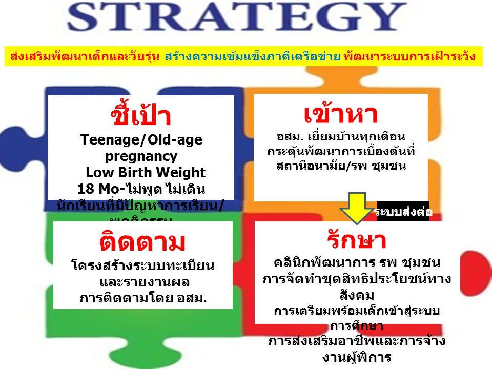 ชี้เป้า Teenage/Old-age pregnancy Low Birth Weight 18 Mo- ไม่พูด ไม่เดิน นักเรียนที่มีปัญหาการเรียน / พฤติกรรม เข้าหา อสม.