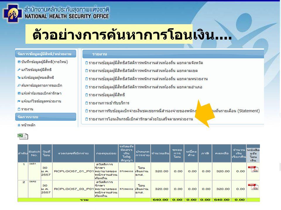 สำนักงานหลักประกันสุขภาพแห่งชาติ NATIONAL HEALTH SECURITY OFFICE สำนักงานหลักประกันสุขภาพแห่งชาติ NATIONAL HEALTH SECURITY OFFICE ระเบียบวาระ 3.3 สรุปการ ดำเนินงาน ระบบสวัสดิการการรักษาพยาบาล พนักงานส่วนท้องถิ่น ตัวอย่างการค้นหาการโอนเงิน....