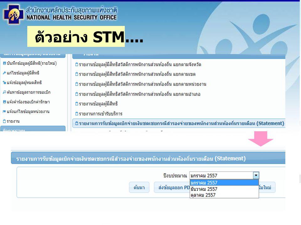 สำนักงานหลักประกันสุขภาพแห่งชาติ NATIONAL HEALTH SECURITY OFFICE สำนักงานหลักประกันสุขภาพแห่งชาติ NATIONAL HEALTH SECURITY OFFICE ระเบียบวาระ 3.3 สรุปการ ดำเนินงาน ระบบสวัสดิการการรักษาพยาบาล พนักงานส่วนท้องถิ่น ตัวอย่าง STM....