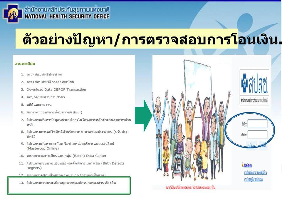 สำนักงานหลักประกันสุขภาพแห่งชาติ NATIONAL HEALTH SECURITY OFFICE สำนักงานหลักประกันสุขภาพแห่งชาติ NATIONAL HEALTH SECURITY OFFICE ระเบียบวาระ 3.3 สรุปการ ดำเนินงาน ระบบสวัสดิการการรักษาพยาบาล พนักงานส่วนท้องถิ่น ตัวอย่างปัญหา / การตรวจสอบการโอนเงิน....