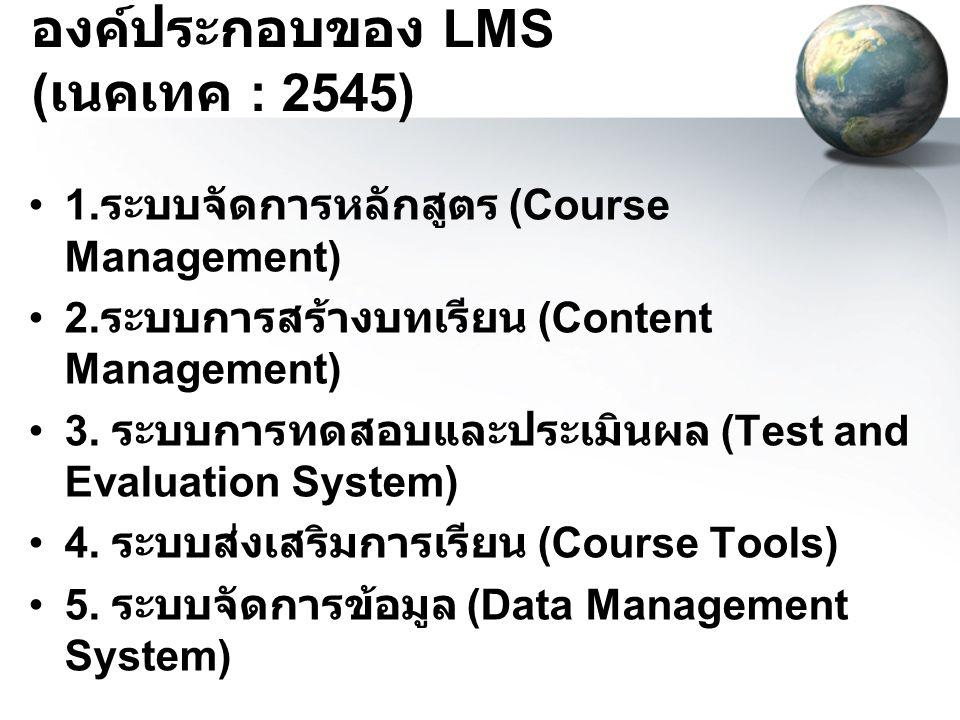 องค์ประกอบของ LMS ( เนคเทค : 2545) 1. ระบบจัดการหลักสูตร (Course Management) 2. ระบบการสร้างบทเรียน (Content Management) 3. ระบบการทดสอบและประเมินผล (