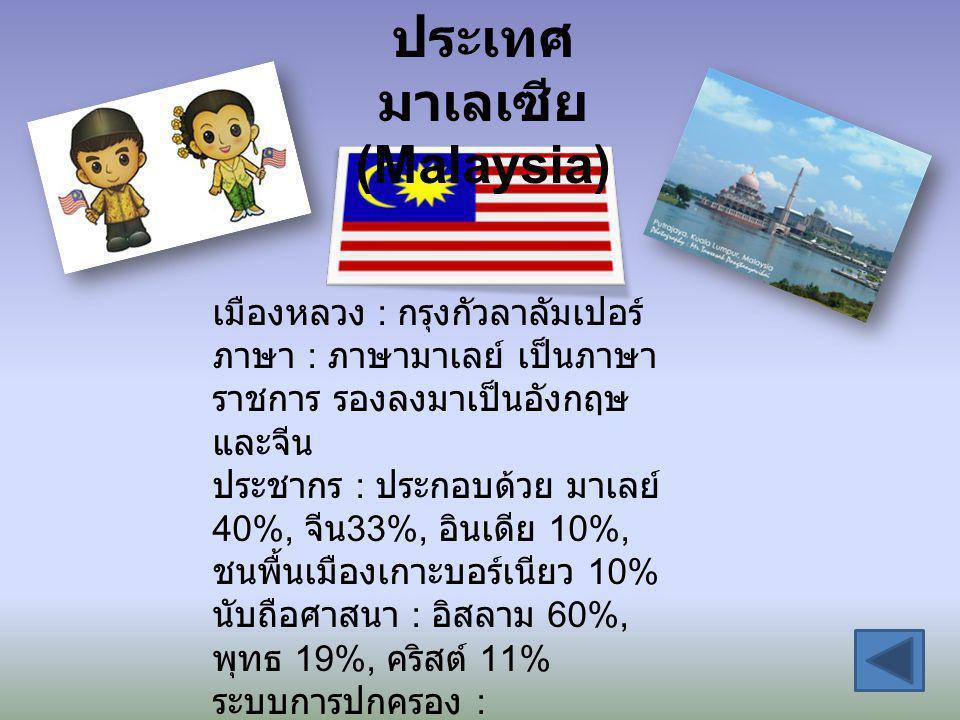 ประเทศ มาเลเซีย (Malaysia) เมืองหลวง : กรุงกัวลาลัมเปอร์ ภาษา : ภาษามาเลย์ เป็นภาษา ราชการ รองลงมาเป็นอังกฤษ และจีน ประชากร : ประกอบด้วย มาเลย์ 40%, จ