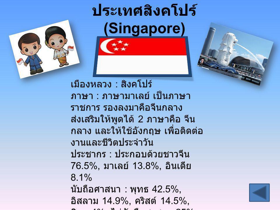 ประเทศสิงคโปร์ (Singapore) เมืองหลวง : สิงคโปร์ ภาษา : ภาษามาเลย์ เป็นภาษา ราชการ รองลงมาคือจีนกลาง ส่งเสริมให้พูดได้ 2 ภาษาคือ จีน กลาง และให้ใช้อังก