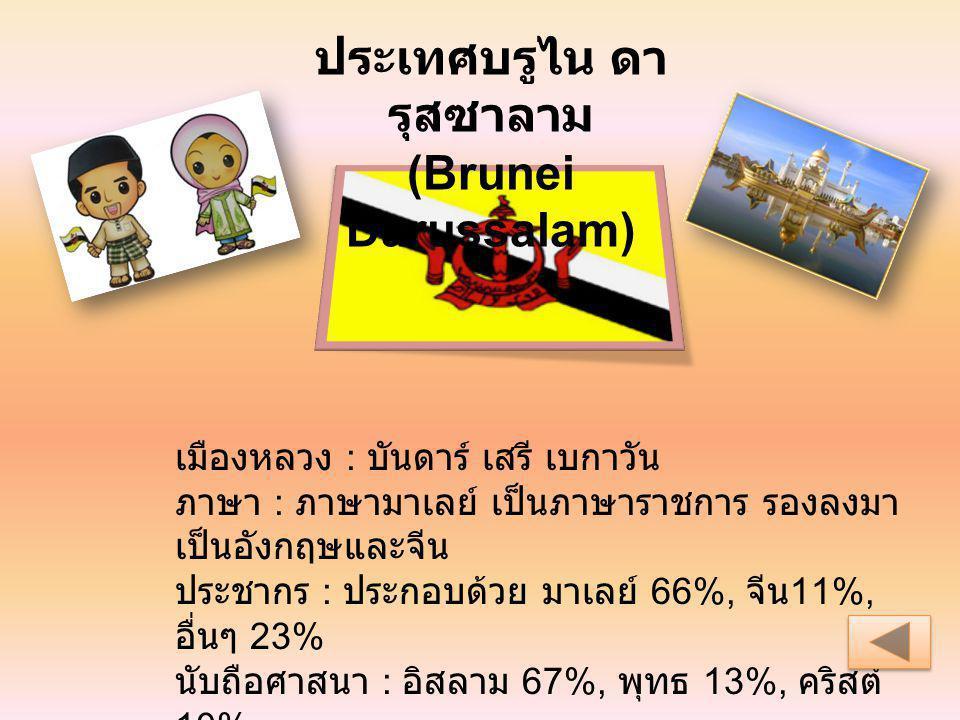เมืองหลวง : บันดาร์ เสรี เบกาวัน ภาษา : ภาษามาเลย์ เป็นภาษาราชการ รองลงมา เป็นอังกฤษและจีน ประชากร : ประกอบด้วย มาเลย์ 66%, จีน 11%, อื่นๆ 23% นับถือศ