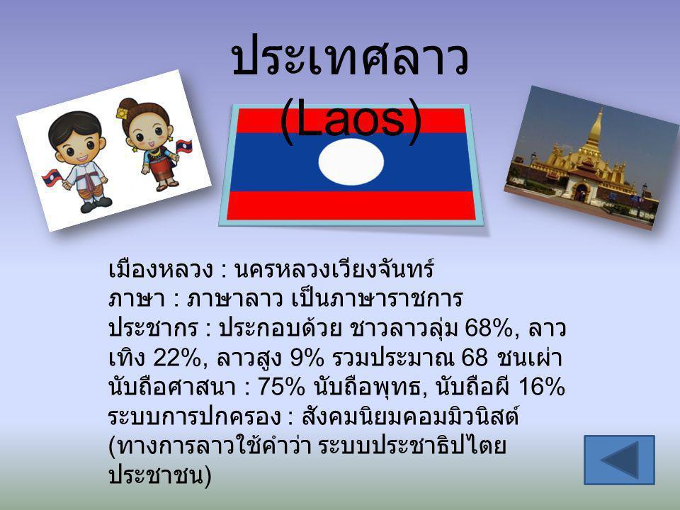 ประเทศลาว (Laos) เมืองหลวง : นครหลวงเวียงจันทร์ ภาษา : ภาษาลาว เป็นภาษาราชการ ประชากร : ประกอบด้วย ชาวลาวลุ่ม 68%, ลาว เทิง 22%, ลาวสูง 9% รวมประมาณ 6