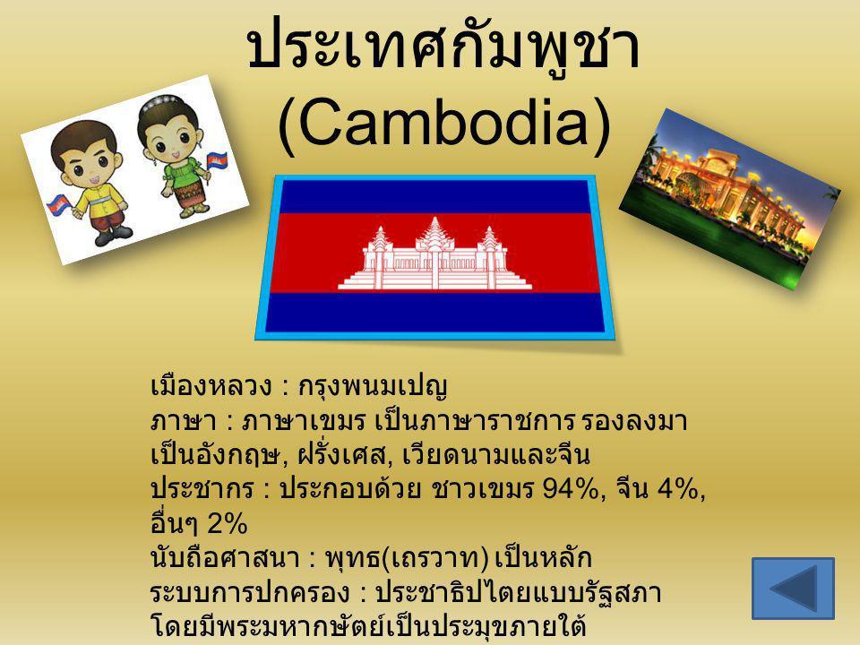 ประเทศกัมพูชา (Cambodia) เมืองหลวง : กรุงพนมเปญ ภาษา : ภาษาเขมร เป็นภาษาราชการ รองลงมา เป็นอังกฤษ, ฝรั่งเศส, เวียดนามและจีน ประชากร : ประกอบด้วย ชาวเข