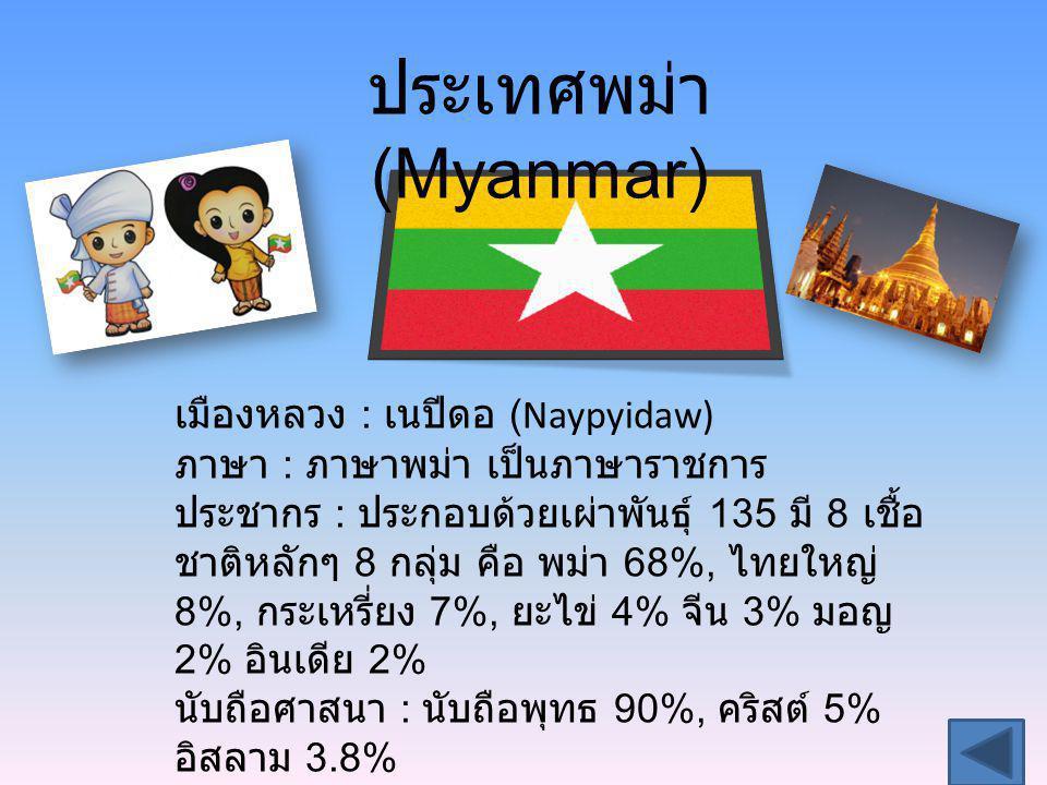 ประเทศพม่า (Myanmar) เมืองหลวง : เนปีดอ (Naypyidaw) ภาษา : ภาษาพม่า เป็นภาษาราชการ ประชากร : ประกอบด้วยเผ่าพันธุ์ 135 มี 8 เชื้อ ชาติหลักๆ 8 กลุ่ม คือ