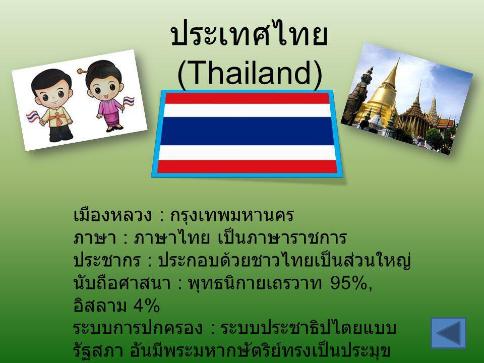 ประเทศไทย (Thailand) เมืองหลวง : กรุงเทพมหานคร ภาษา : ภาษาไทย เป็นภาษาราชการ ประชากร : ประกอบด้วยชาวไทยเป็นส่วนใหญ่ นับถือศาสนา : พุทธนิกายเถรวาท 95%,