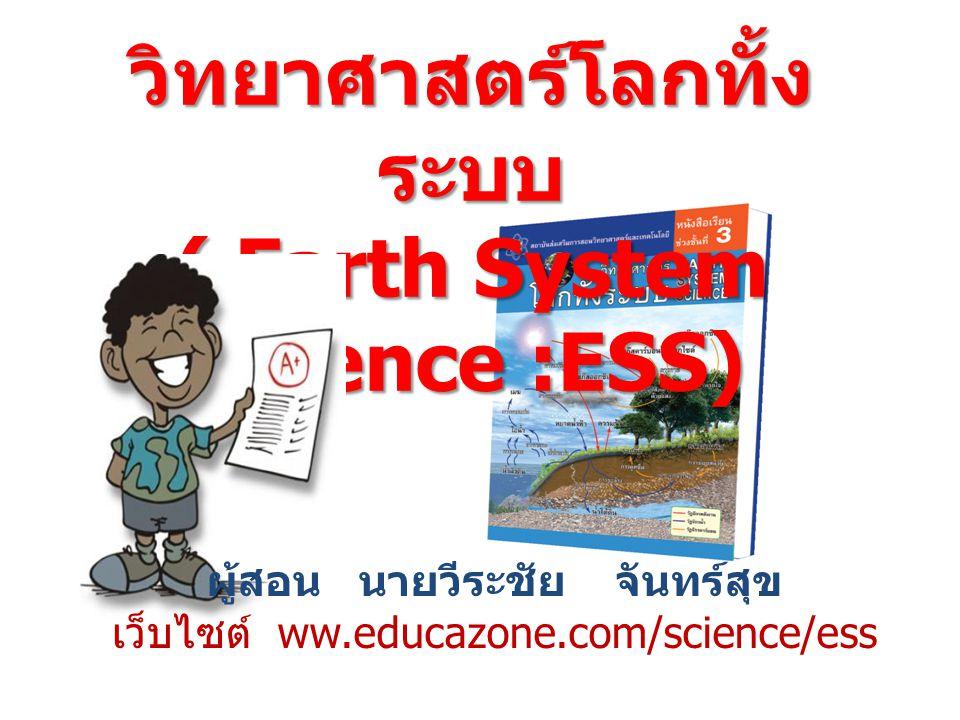 วิทยาศาสตร์โลกทั้ง ระบบ ( Earth System Science :ESS) ผู้สอน นายวีระชัย จันทร์สุข เว็บไซต์ ww.educazone.com/science/ess