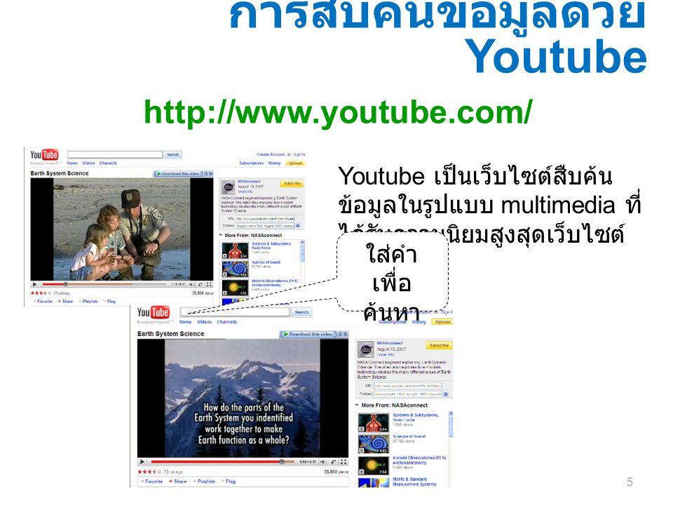 5 การสืบค้นข้อมูลด้วย Youtube http://www.youtube.com/ Youtube เป็นเว็บไซต์สืบค้น ข้อมูลในรูปแบบ multimedia ที่ ได้รับความนิยมสูงสุดเว็บไซต์ หนึ่ง ใส่ค