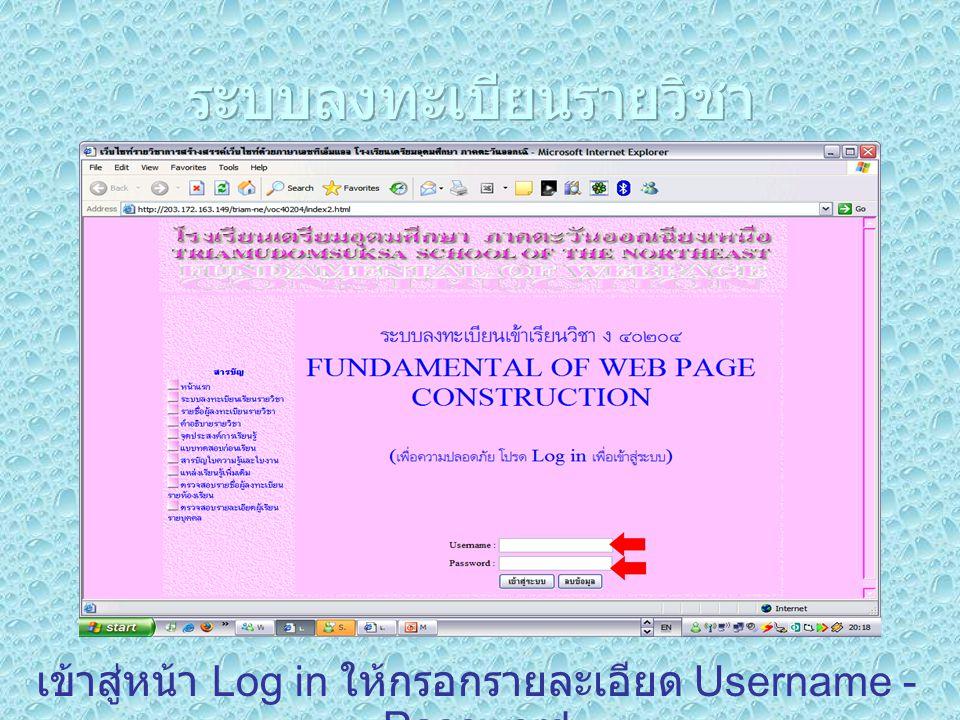เข้าสู่หน้า Log in ให้กรอกรายละเอียด Username - Password