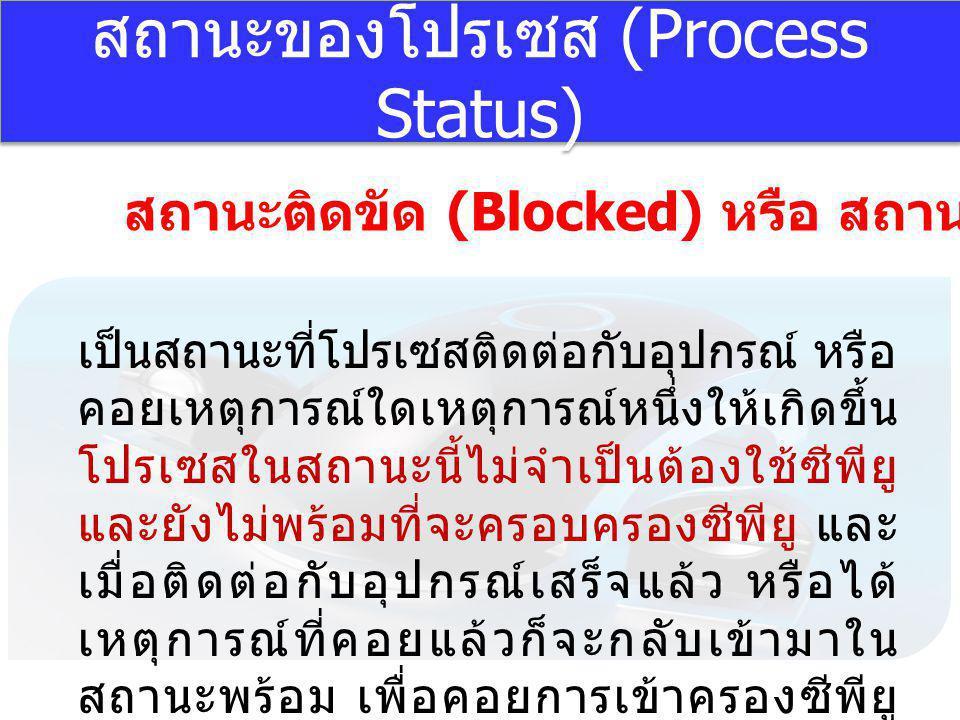 สถานะของโปรเซส (Process Status) สถานะติดขัด (Blocked) หรือ สถานะพัก (Suspend) เป็นสถานะที่โปรเซสติดต่อกับอุปกรณ์ หรือ คอยเหตุการณ์ใดเหตุการณ์หนึ่งให้เ