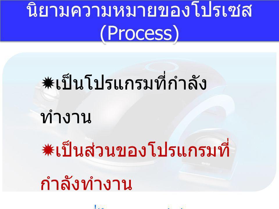 นิยามความหมายของโปรเซส (Process)  เป็นโปรแกรมที่กำลัง ทำงาน  เป็นส่วนของโปรแกรมที่ กำลังทำงาน  งานที่ได้ครองซีพียู