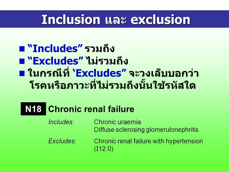 Inclusion และ exclusion Inclusion และ exclusion Includes รวมถึง Excludes ไม่รวมถึง ในกรณีที่ 'Excludes จะวงเล็บบอกว่า โรคหรือภาวะที่ไม่รวมถึงนั้นใช้รหัสใด Chronic renal failure Includes:Chronic uraemia Diffuse sclerosing glomerulonephritis Excludes:Chronic renal failure with hypertension ( I 12.0) N18
