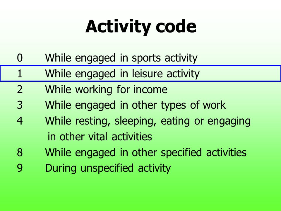 Activity code 0While engaged in sports activity 1While engaged in leisure activity 2While working for income 3While engaged in other types of work 4Wh