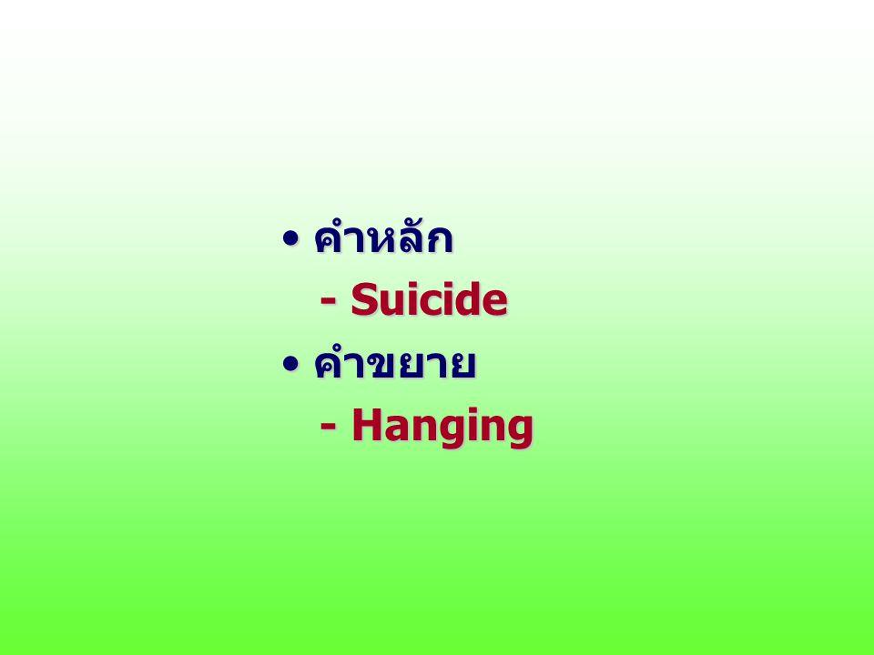 คำหลักคำหลัก - Suicide - Suicide คำขยายคำขยาย - Hanging - Hanging