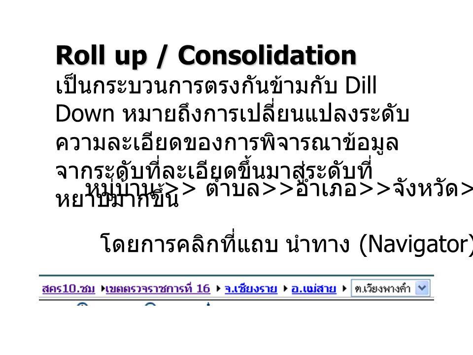 Roll up / Consolidation เป็นกระบวนการตรงกันข้ามกับ Dill Down หมายถึงการเปลี่ยนแปลงระดับ ความละเอียดของการพิจารณาข้อมูล จากระดับที่ละเอียดขึ้นมาสู่ระดั