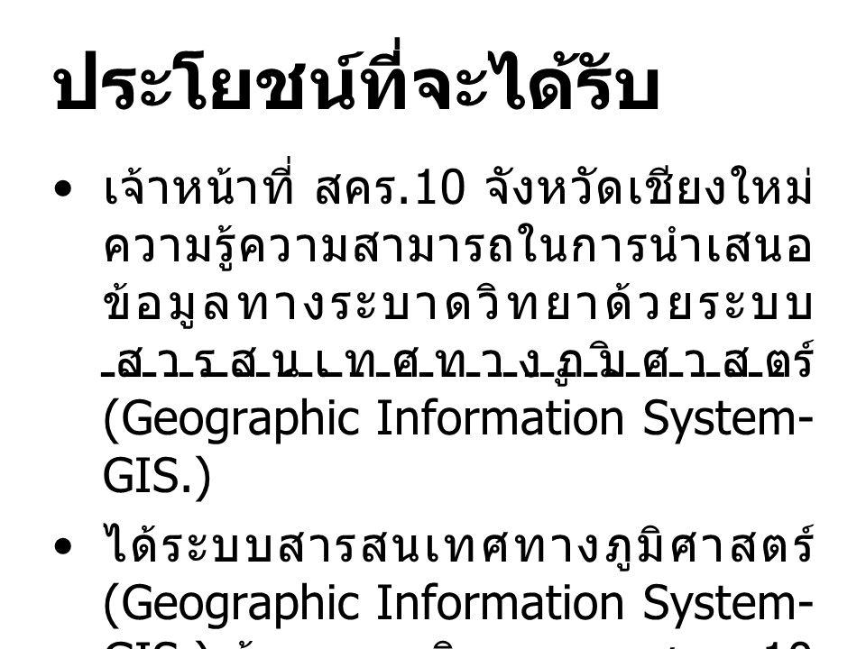 ประโยชน์ที่จะได้รับ เจ้าหน้าที่ สคร.10 จังหวัดเชียงใหม่ ความรู้ความสามารถในการนำเสนอ ข้อมูลทางระบาดวิทยาด้วยระบบ สารสนเทศทางภูมิศาสตร์ (Geographic Inf