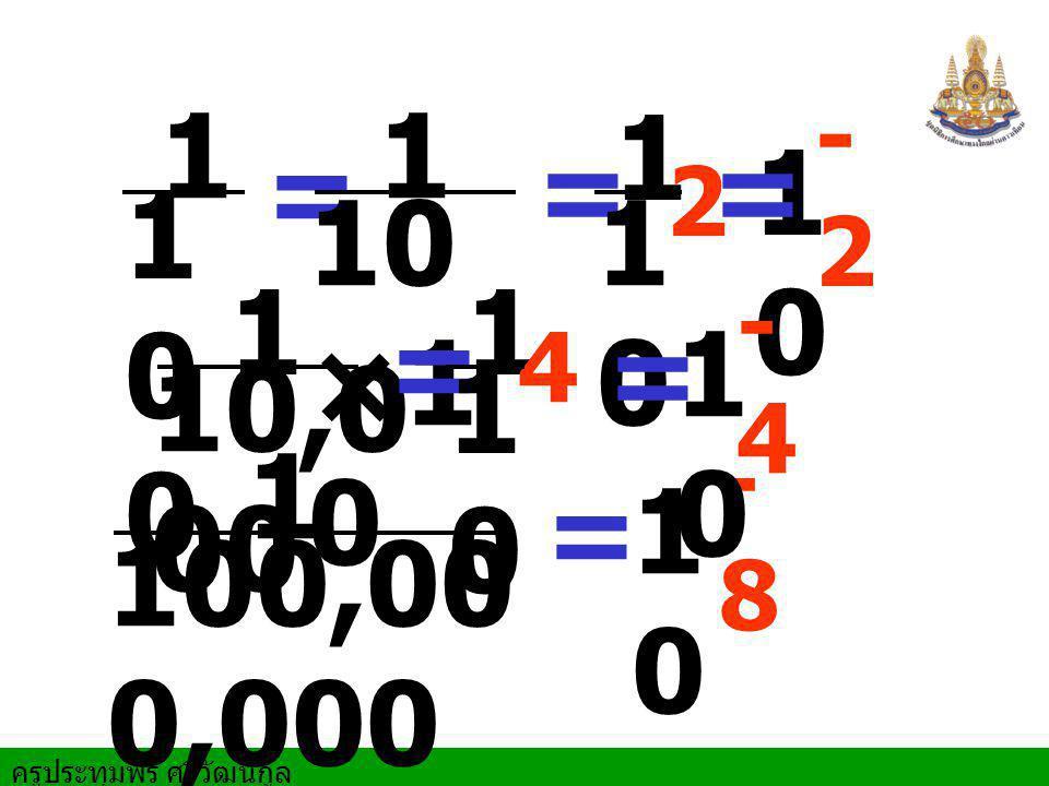 1 = 2 1 10 ×1 0 = 1 1 10,0 00 1 = 4 100,00 0,000 = 1 - 8 1 0 1 0 0 1 0 1 0 - 2 = 1 0 1 0 - 4 =