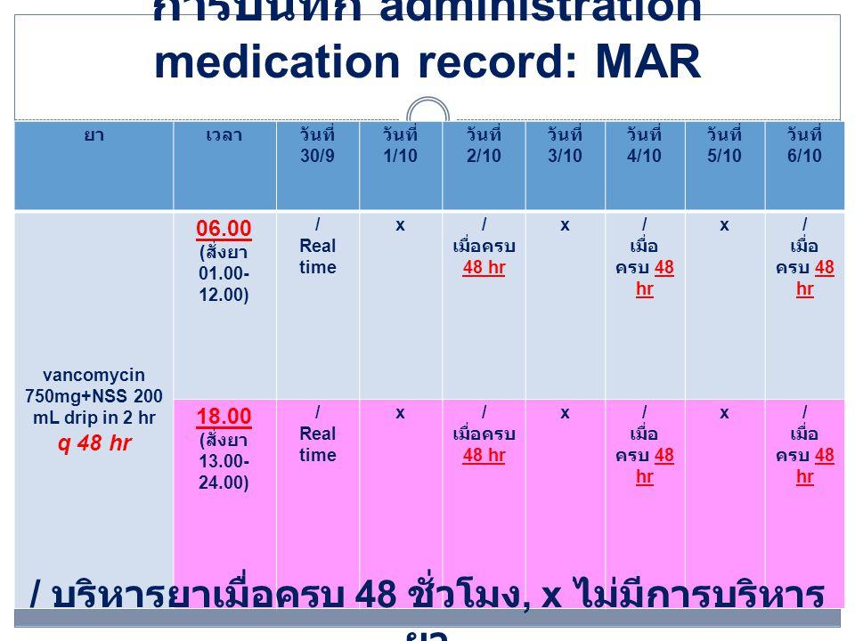 แนวทางปฏิบัติของการบริหารยา ยกตัวอย่างคำสั่งบริหารยาทุก 72 ชั่วโมง Rx 30/9/57 vancomycin 750 mg+NSS 200 mL drip in 2 hr q 72 hr  กรณีสั่งใช้ยาในช่วงเวลา 01.00-12.00 น.