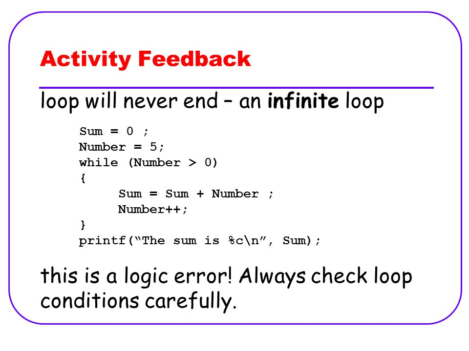 Activity Feedback loop will never end – an infinite loop this is a logic error.