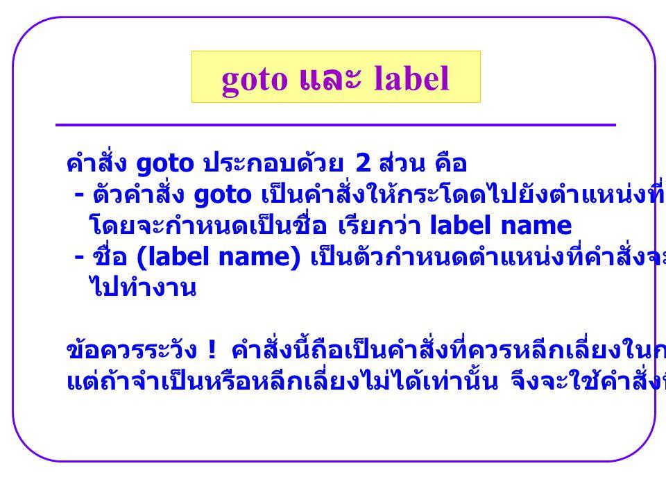 คำสั่ง goto ประกอบด้วย 2 ส่วน คือ - ตัวคำสั่ง goto เป็นคำสั่งให้กระโดดไปยังตำแหน่งที่กำหนด โดยจะกำหนดเป็นชื่อ เรียกว่า label name - ชื่อ (label name)