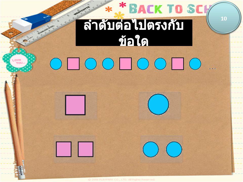 แบบรูปที่ 3 แบบรูปท่าทาง เป็นแบบรูปของภาพคน แสดง ท่าทางมีความสัมพันธ์คือ มีภาพท่าทาง ซ้ำกันเป็นชุดชุดละสองท่า โดยรูปที่ 1 เหมือนกับรูปที่ 3 และรูปที่ 5 รูปที่ 2 เหมือนกับรูปที่ 4 และรูปที่ 6 ดังนั้นรูปที่ 7 จะเหมือนกับรูปที่ 1 เป็นต้น