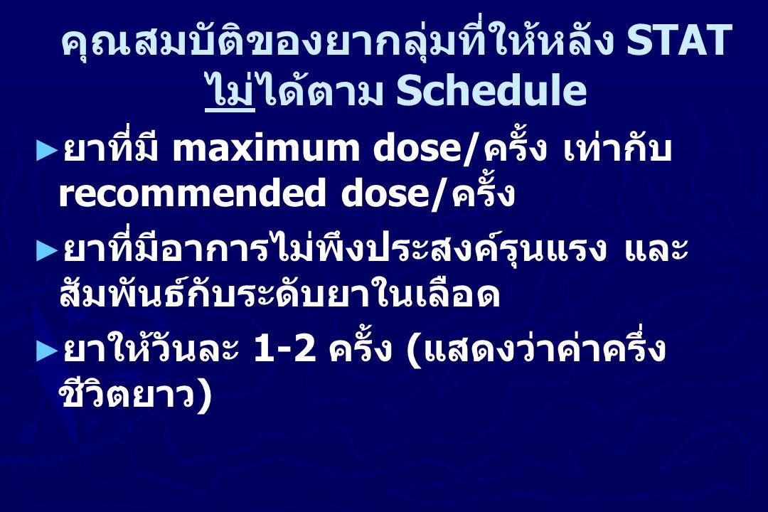 คุณสมบัติของยากลุ่มที่ให้หลัง STAT ไม่ได้ตาม Schedule ► ยาที่มี maximum dose/ ครั้ง เท่ากับ recommended dose/ ครั้ง ► ยาที่มีอาการไม่พึงประสงค์รุนแรง และ สัมพันธ์กับระดับยาในเลือด ► ยาให้วันละ 1-2 ครั้ง ( แสดงว่าค่าครึ่ง ชีวิตยาว )