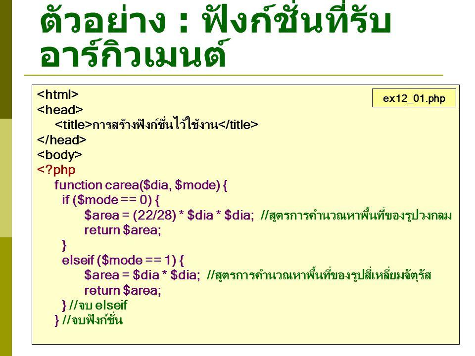 ตัวอย่าง : การสร้างฟังก์ชั่นไว้ใช้งาน <?php $myvar = 500; function TestVar() { //ประกาศให้ PHP รู้ว่าต้องการอ้างถึงตัวแปร $myvar ที่อยู่นอกฟังก์ชั่น global $myvar; $myvar++; } echo ค่าของ \$myvar ก่อนเรียกฟังก์ชั่น : $myvar \n ; TestVar(); echo ค่าของ \$myvar หลังจากเรียกฟังก์ชั่น : $myvar \n ; ?> ex12_07.php