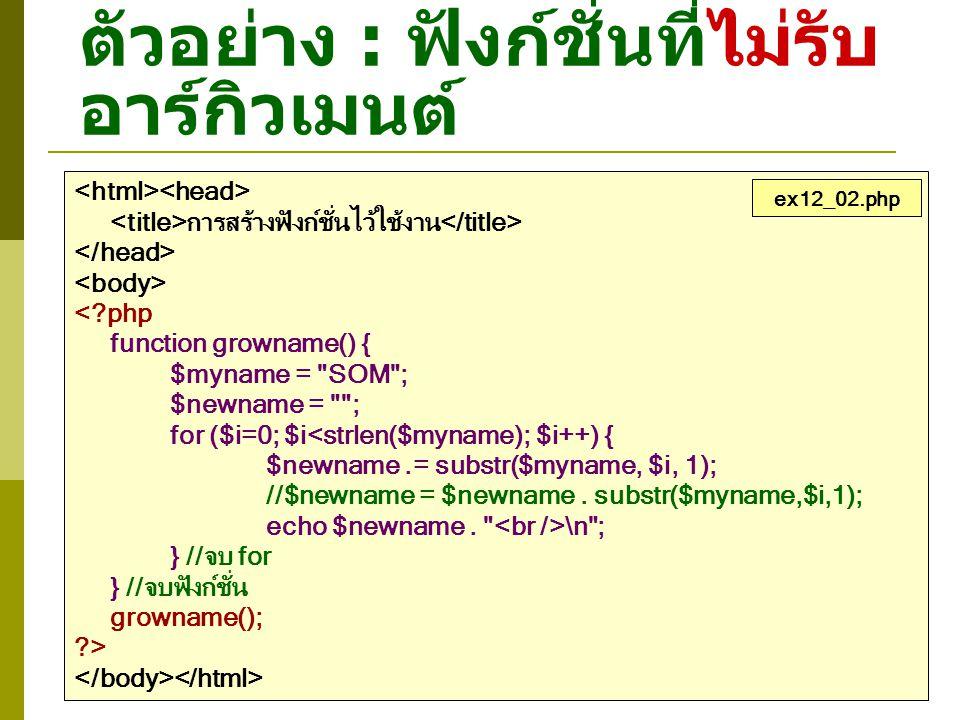 ตัวอย่าง : การสร้างฟังก์ชั่นไว้ใช้งาน <?php function testloop() { $var = 150; $str = A ; echo ค่าของ \$var คือ $var, ; echo ค่าของ \$str คือ $str \n ; $var -= 10; //ลดค่าของ $var ทีละ 10 $str++; //เพิ่มค่าของ $str ทีละ 1 } //เรียกใช้ฟังก์ชั่น testloop() จำนวน 4 ครั้ง for ($i=0; $i<4; $i++) { testloop(); } ?> ex12_08.php