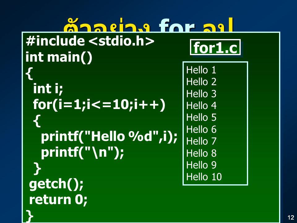 12 ตัวอย่าง for ลูป #include int main() { int i; for(i=1;i<=10;i++) { printf( Hello %d ,i); printf( \n ); } getch(); return 0; } #include int main() { int i; for(i=1;i<=10;i++) { printf( Hello %d ,i); printf( \n ); } getch(); return 0; } Hello 1 Hello 2 Hello 3 Hello 4 Hello 5 Hello 6 Hello 7 Hello 8 Hello 9 Hello 10 for1.c