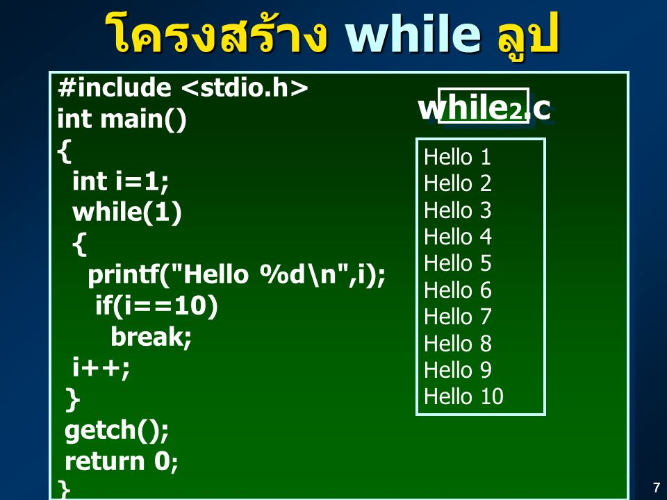 77 โครงสร้าง while ลูป (INFINITY LOOP) #include int main() { int i=1; while(1) { printf( Hello %d\n ,i); if(i==10) break; i++; } getch(); return 0 ; } #include int main() { int i=1; while(1) { printf( Hello %d\n ,i); if(i==10) break; i++; } getch(); return 0 ; } Hello 1 Hello 2 Hello 3 Hello 4 Hello 5 Hello 6 Hello 7 Hello 8 Hello 9 Hello 10 while 2.c