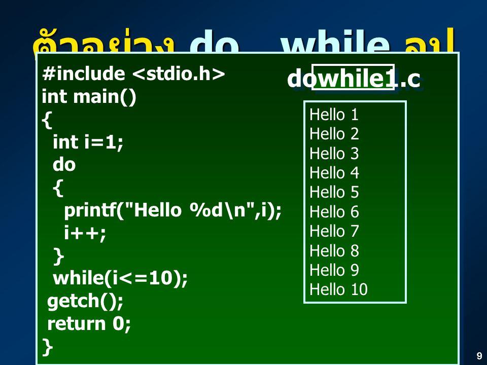 99 ตัวอย่าง do…while ลูป #include int main() { int i=1; do { printf( Hello %d\n ,i); i++; } while(i<=10); getch(); return 0; } #include int main() { int i=1; do { printf( Hello %d\n ,i); i++; } while(i<=10); getch(); return 0; } Hello 1 Hello 2 Hello 3 Hello 4 Hello 5 Hello 6 Hello 7 Hello 8 Hello 9 Hello 10 dowhile1.c