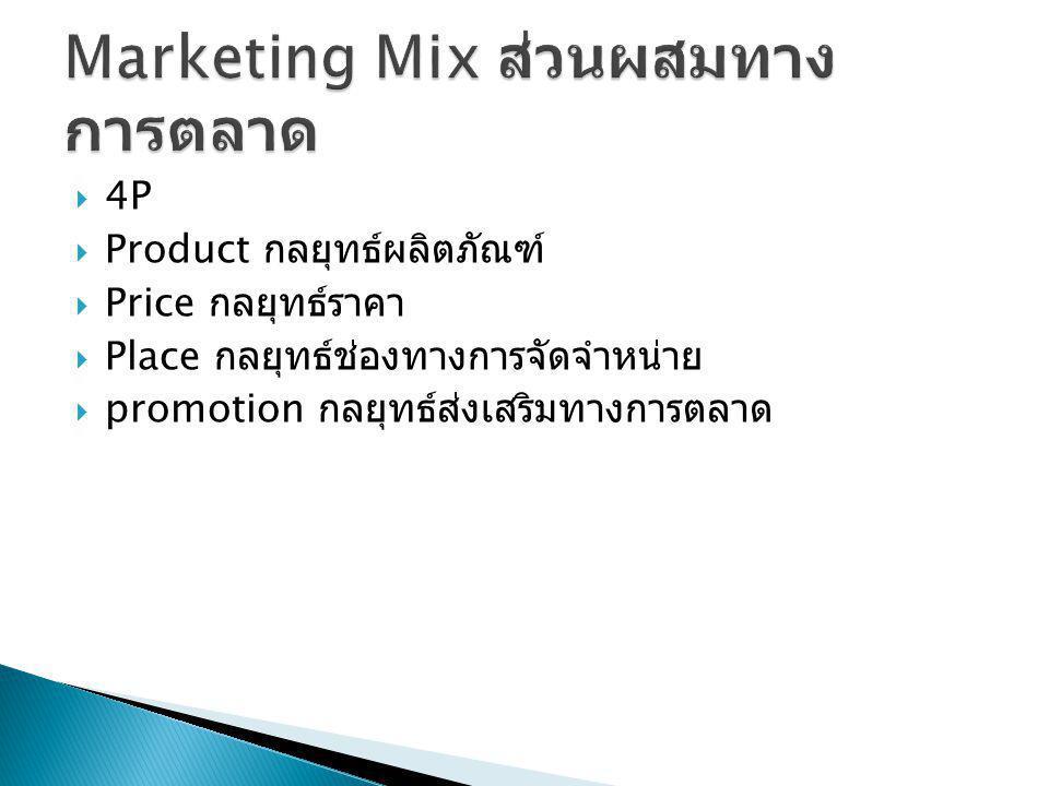  4P  Product กลยุทธ์ผลิตภัณฑ์  Price กลยุทธ์ราคา  Place กลยุทธ์ช่องทางการจัดจำหน่าย  promotion กลยุทธ์ส่งเสริมทางการตลาด