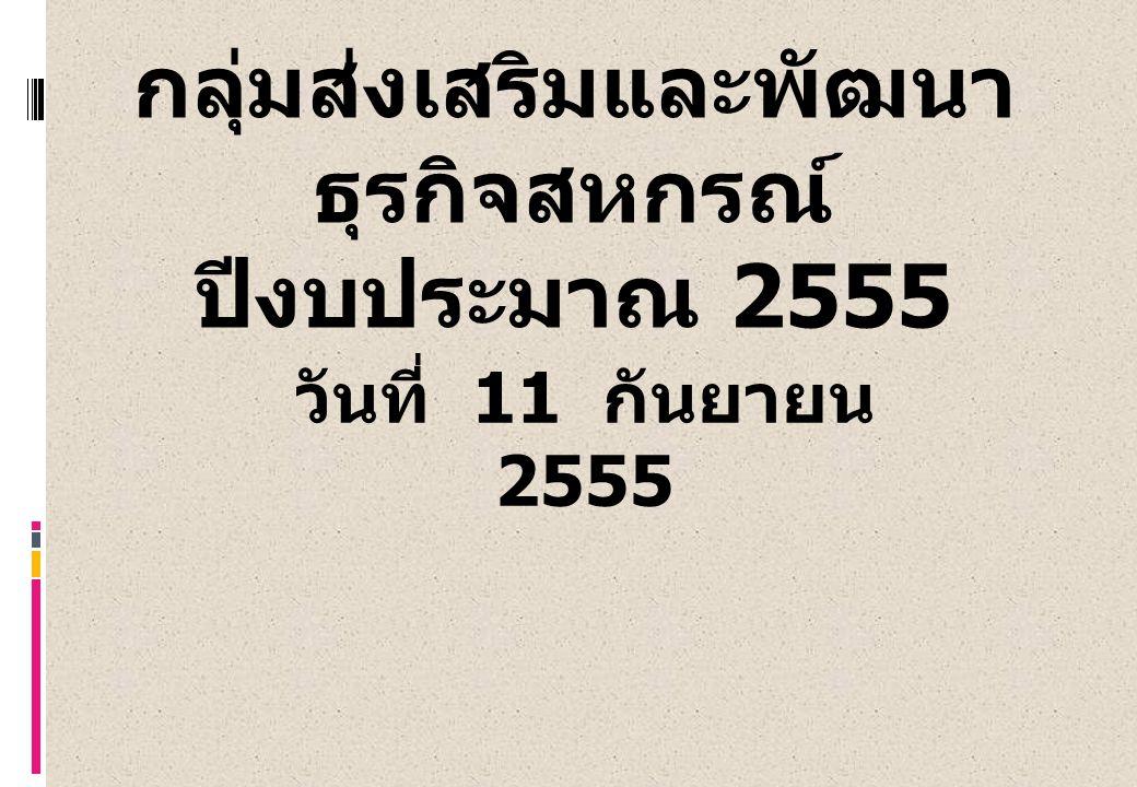 กลุ่มส่งเสริมและพัฒนา ธุรกิจสหกรณ์ ปีงบประมาณ 2555 วันที่ 11 กันยายน 2555