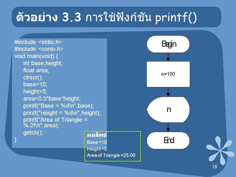 11 ตัวอย่าง 3.4 การใช้ฟังก์ชัน printf() #include void main(void) { int a=10; long int b=100; float c=2.54; printf( a = %d\n ,a); printf( b = %ld\n ,b); printf( c = %f\n ,c); getch(); } ผลลัพธ์ a = 10 b = 100 c = 2.54