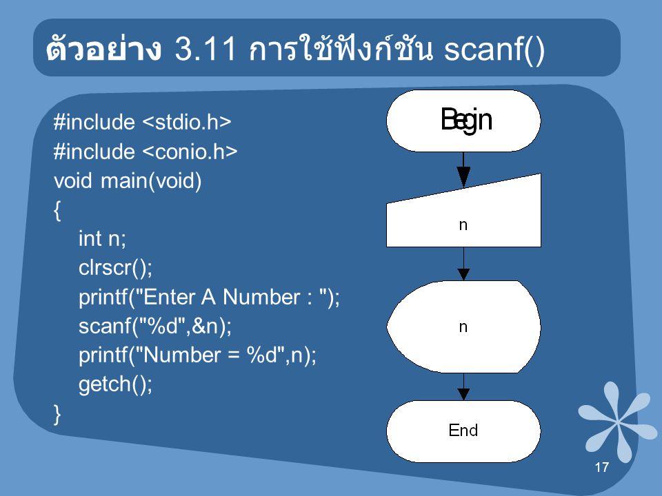 18 ตัวอย่าง 3.12 การใช้ฟังก์ชัน scanf() #include void main(void) { int n1,n2; clrscr(); printf( Enter Number : ); scanf( %d %d ,&n1,&n2); printf( Number 1 = %d\n ,n1); printf( Number 2 = %d\n ,n2); getch(); }