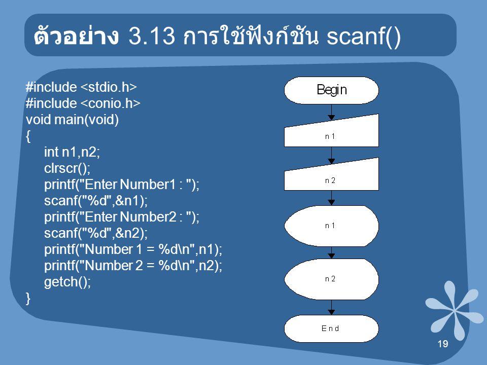 20 ตัวอย่าง 3.14 การใช้ฟังก์ชัน scanf() /* scanf-printf */ #include void main(void) { char ch; clrscr(); printf( Enter 1 Character : ); scanf( %c ,&ch); printf( You Enter : %c ,ch); getch(); }