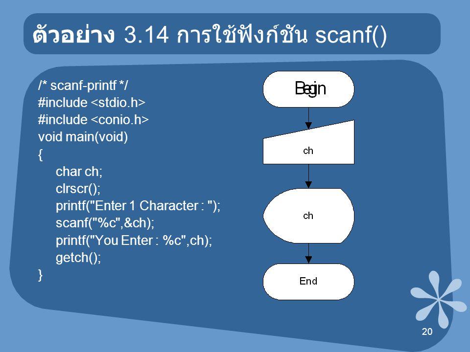 21 ตัวอย่าง 3.15 การใช้ฟังก์ชัน scanf() /* scanf-printf */ #include void main(void) { char name[30]; clrscr(); printf( Enter Your Name-Surname : ); scanf( %s ,&name); printf( Your Name-Surname : %s ,name); getch(); }