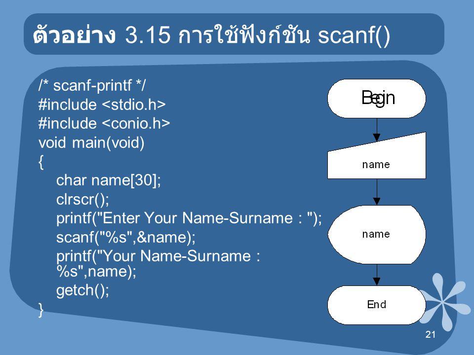 21 ตัวอย่าง 3.15 การใช้ฟังก์ชัน scanf() /* scanf-printf */ #include void main(void) { char name[30]; clrscr(); printf(