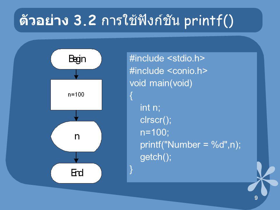 10 ตัวอย่าง 3.3 การใช้ฟังก์ชัน printf() #include void main(void) { int base,height; float area; clrscr(); base=10; height=5; area=0.5*base*height; printf( Base = %d\n ,base); printf( Height = %d\n ,height); printf( Area of Triangle = %.2f\n ,area); getch(); } ผลลัพธ์ Base =10 Height =5 Area of Triangle =25.00
