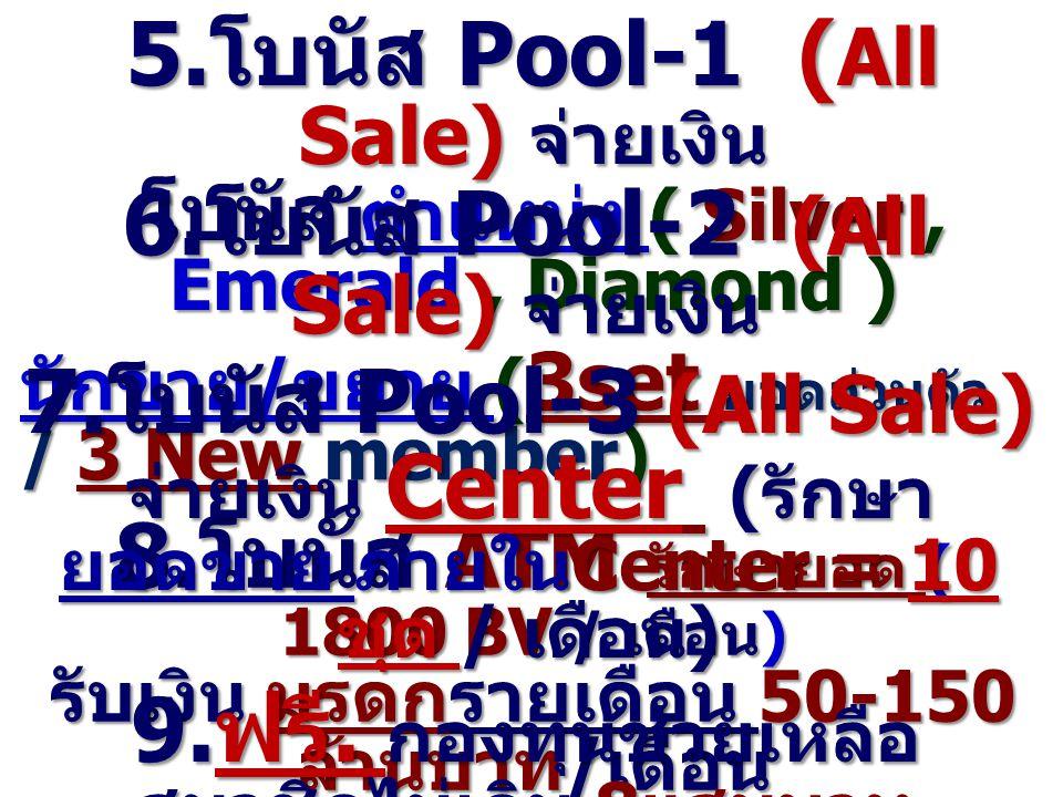 5. โบนัส Pool-1 ( All Sale) จ่ายเงิน โบนัส ตำแหน่ง ( Silver, Emerald, Diamond ) โบนัส ตำแหน่ง ( Silver, Emerald, Diamond ) 8. โบนัส ATM รักษายอด ( 180