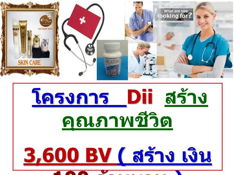 โครงการ Dii โครงการ Dii สร้าง คุณภาพชีวิต 3,600 BV ( สร้าง เงิน 100 ล้านบาท ) เริ่มต้น เพียง 5,000 บาท