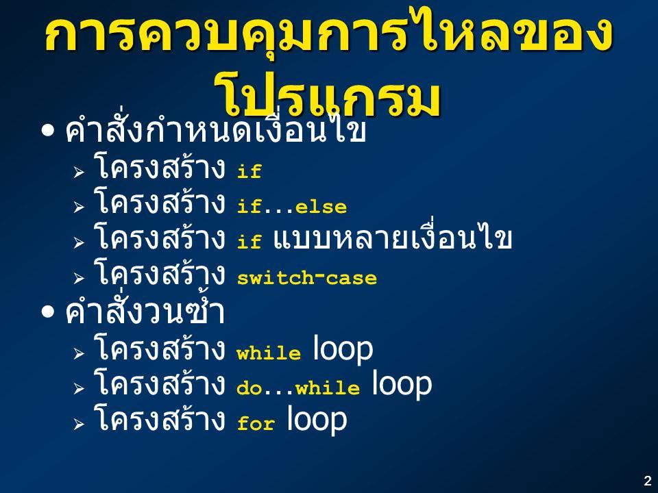 13 ลูปวนนับ (Counting Loop) หากพิจารณาโครงสร้างของลูปที่ใช้ใน โปรแกรมส่วนใหญ่ มักจะเป็นลูปแบบ วนนับ ลูปวนนับจะมีส่วนประกอบดังตัวอย่าง ต่อไปนี้เสมอ int i, sum = 0; i = 1; while (i <= 10) { sum = sum + i; i = i + 1; } printf( Sum = %d\n , sum); int i, sum = 0; i = 1; while (i <= 10) { sum = sum + i; i = i + 1; } printf( Sum = %d\n , sum); ตัวแปรที่ใช้ นับ ส่วน กำหนดค่า เริ่มต้น การปรับค่า ตัวนับ เงื่อนไขของ ตัวนับ คำสั่งที่ถูก ทำซ้ำ